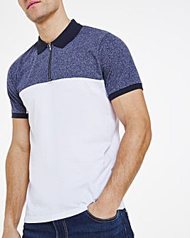 White Navy Grindle Mix Polo Long