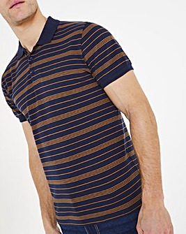 Navy Jersey Striped Polo Long