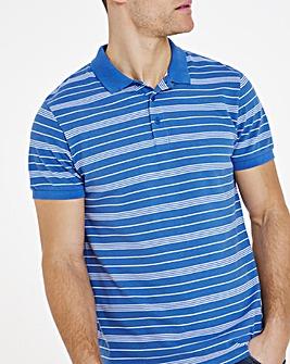 Blue Jersey Striped Polo Long