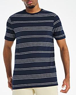 Navy Jacquard Striped T-shirt Long