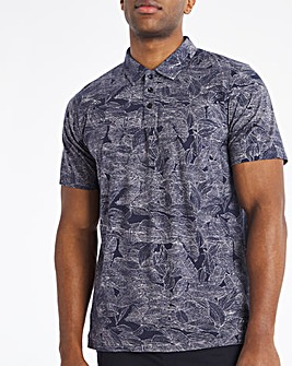 Navy All Over Leaf Print Polo Long