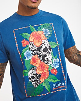 Floral Skull Graphic T-shirt Long
