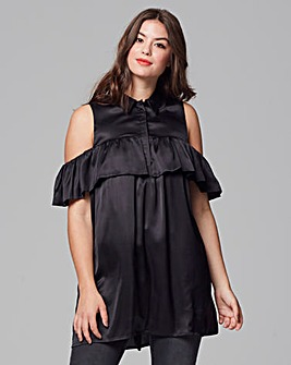 AX Paris Satin Ruffle Tunic