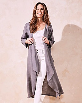 Eden Rock Linen Long Drape Coat