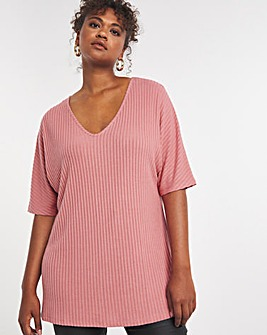 Pink Soft Touch Slouchy V-Neck Tee