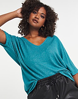 Teal Soft Touch Slouchy V-Neck Tee