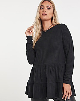 Black Soft Touch Tiered Smock Top