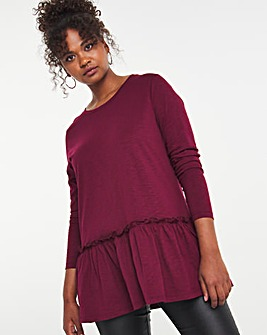 Burgundy Long Sleeve Tiered Tunic