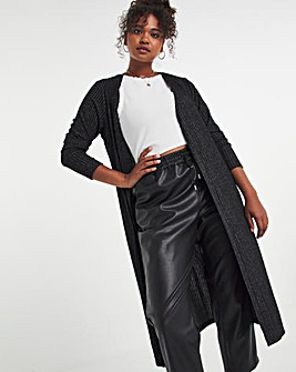 Black Super Soft Rib Maxi Cardigan