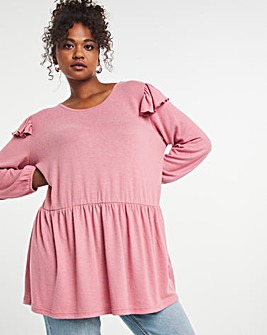 Knit Look Frill Sleeve Smock Top