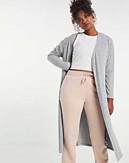Grey Marl Super Soft Rib Maxi Cardigan