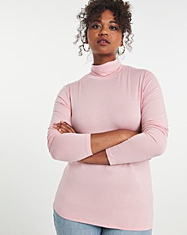 Pink Stretch Roll Neck Top