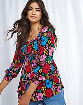 Emma Mattinson Long Sleeve Floral Shirred Peplum Top