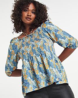 3/4 Sleeve Printed Shirred Top