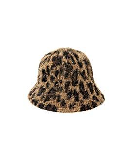 Accessorize Leopard Fluffy Bucket Hat