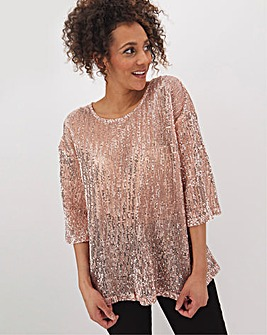Champagne Sequin Boxy Top