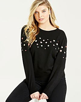 Oasis Curve Heart Embroided Jumper