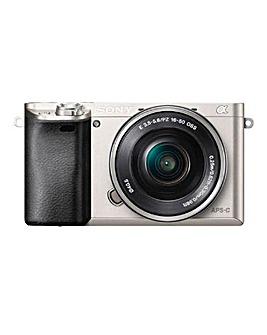 Sony 6000 Silver Body + 16-50mm Power Zoom Lens