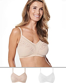 Naturally Close 2 Pack Rose Embroidered Non Wired White/Natural Bras