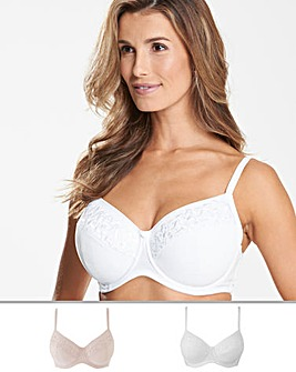 Naturally Close 2 Pack Rose Embroidered Full Cup Wired White/Nat Bra