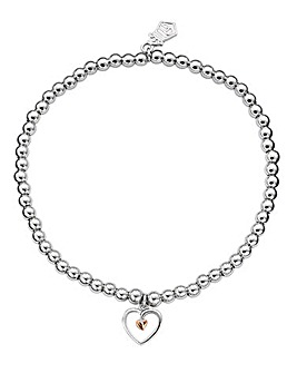 Clogau Tree of Life Sterling Silver and 9ct Rose Gold Heart Bead Bracelet