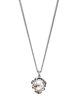 Clogau Tree of Life Sterling Silver and 9ct Rose Gold Caged Pearl Necklace