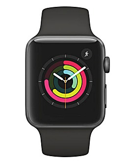Apple Watch Series 3, 42mm Space Grey Aluminium Case with Black Sport Band