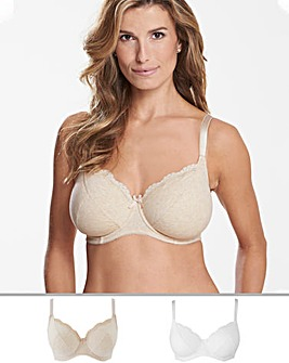 2Pack Sophie Full Cup Oatmeal/White Bra