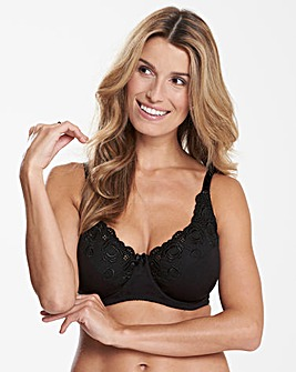 Iris Cotton Comfort Full Cup Black Bra