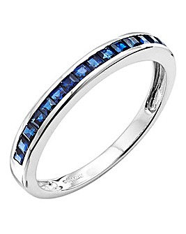 9 Carat White Gold Sapphire Band Ring