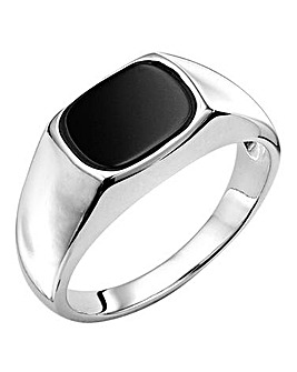 Gents Sterling Silver Onyx Signet Ring