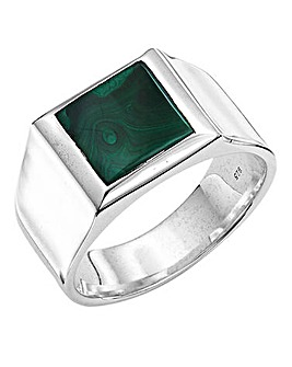 Gents Sterling Silver Malachite Ring