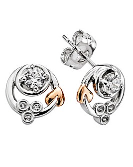 Clogau Tree Of Life Sterling Silver and 9ct Rose Gold Origin Swirl Earrings