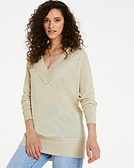 Linen Tunic with Pointelle Detail
