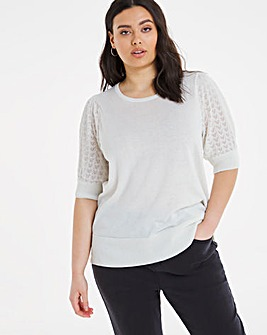 Pointelle Linen Puff Sleeve Jumper