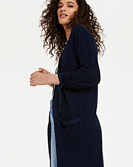 Linen Ruched Sleeve Cardigan