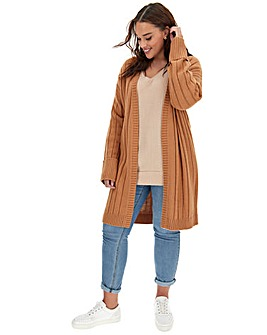 Camel Turn Back Cuff Cardigan