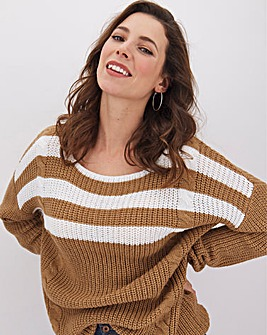 Camel Striped Ribbed Cable Jumper