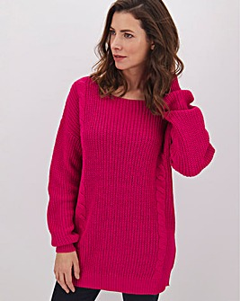 Pink Ribbed Cable Jumper