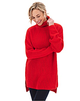 High Side Split Tunic With Roll Neck