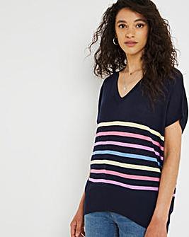 Navy Stripe Short Sleeve Jumper