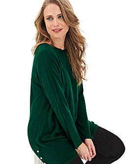 Green Cashmere Like Boat Neck Tunic