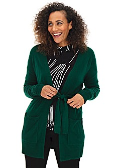 Green Cashmere Like Belted Cardigan