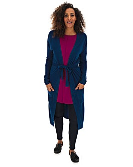 Ink Cashmere Like Belted Long Cardigan