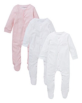 KD Baby Girl Pck 3 Heart Sleepsuits