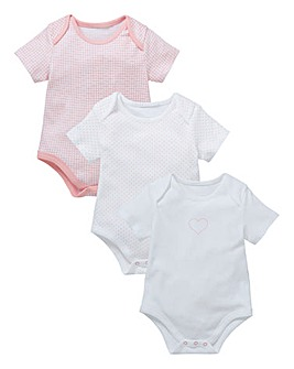 KD Baby Girl Pck of 3 Heart Bodysuits