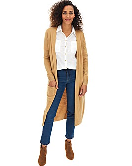 Camel Cashmere Like Belted Long Cardigan