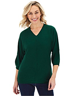 Forest Green Cashmere Like V Neck Jumper