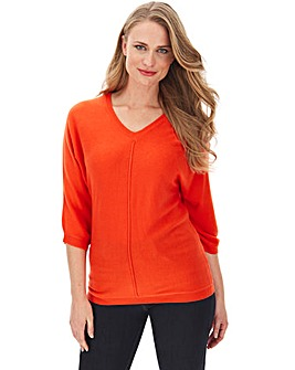 Coral Cashmere Like V Neck Jumper