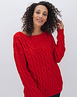 Bright Red Rope Cable Jumper